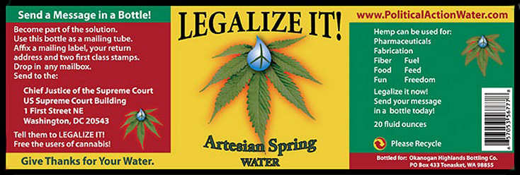 informative Legalize It! brand spring water label